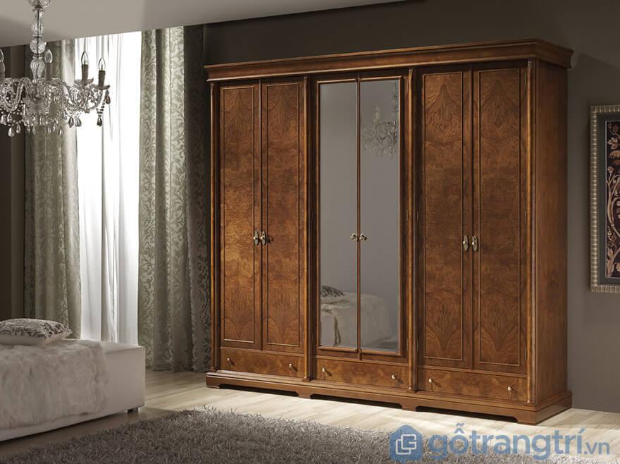 tủ quần xáo gỗ xoan đào cửa lùa