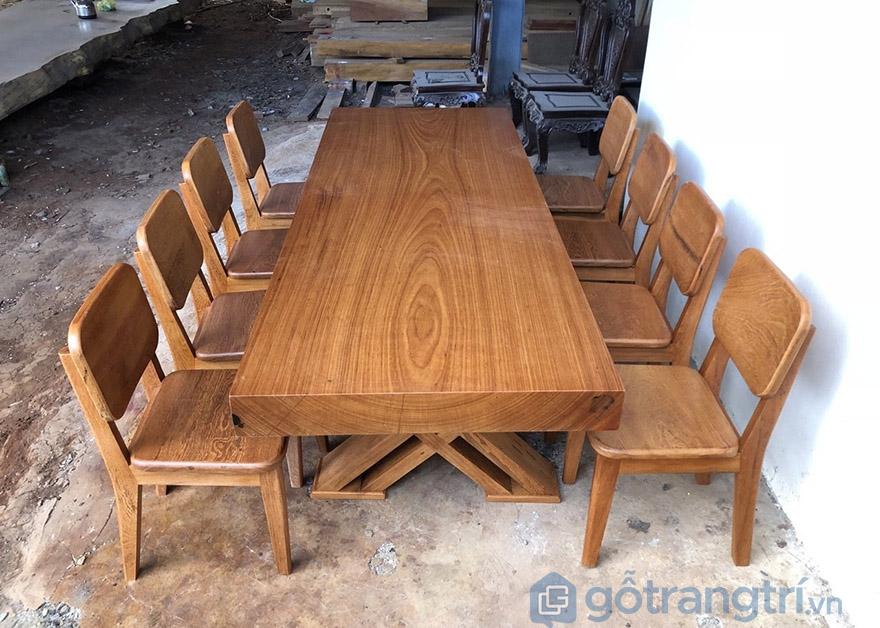 bàn ăn gỗ gõ đỏ nguyên tấm