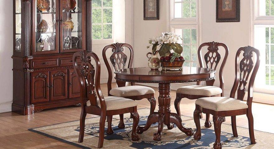 bàn tròn gỗ gõ đỏ