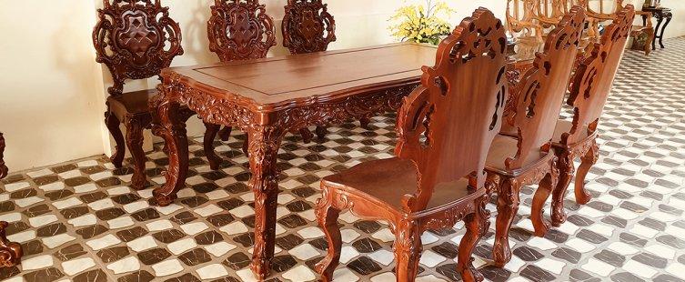 bàn ghế ăn gỗ hương
