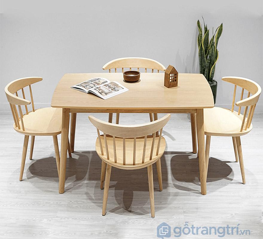 bộ bàn ăn 4 ghế gỗ cao su