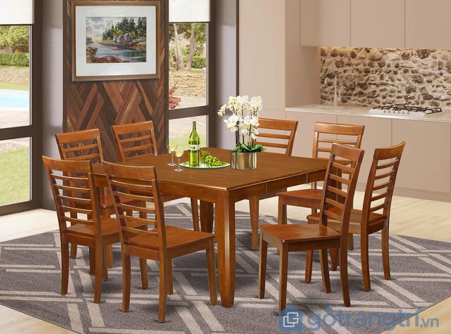 Bộ bàn ăn 8 ghế gỗ hương đẹp