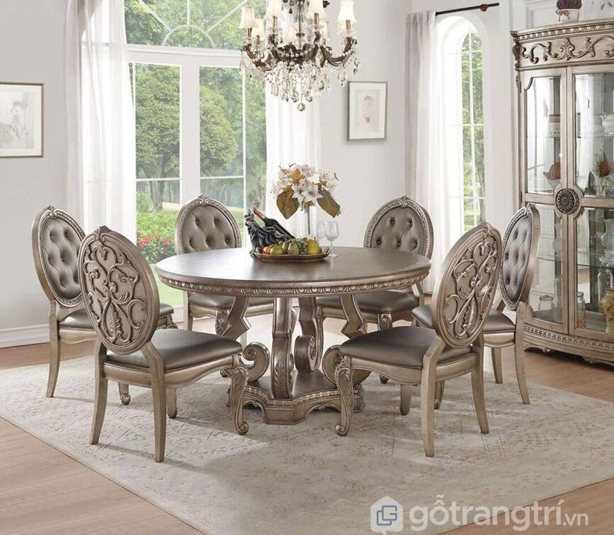 bộ bàn ăn tròn 6 ghế