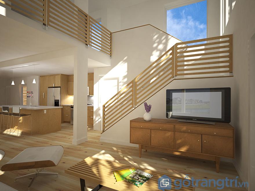 Thiết kế kệ tivi dưới chân cầu thang