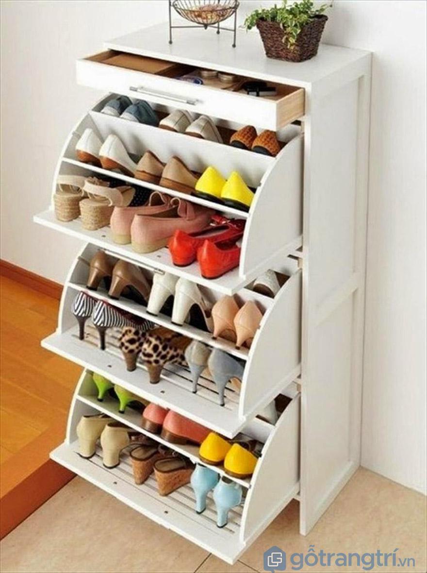 Mẫu tủ giày dép hiện đại có cánh lật