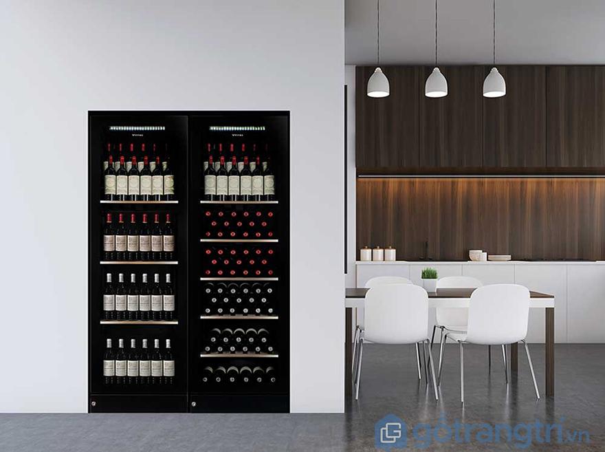 Mẫu tủ rượu âm tường phòng bếp sang trọng