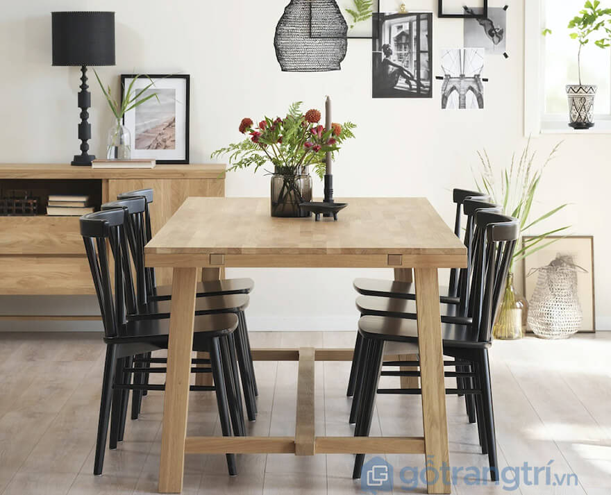 bàn ăn gỗ sồi Nga 6 ghế