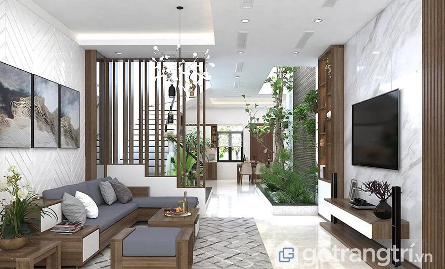 Giá vách ngăn gỗ phòng khách