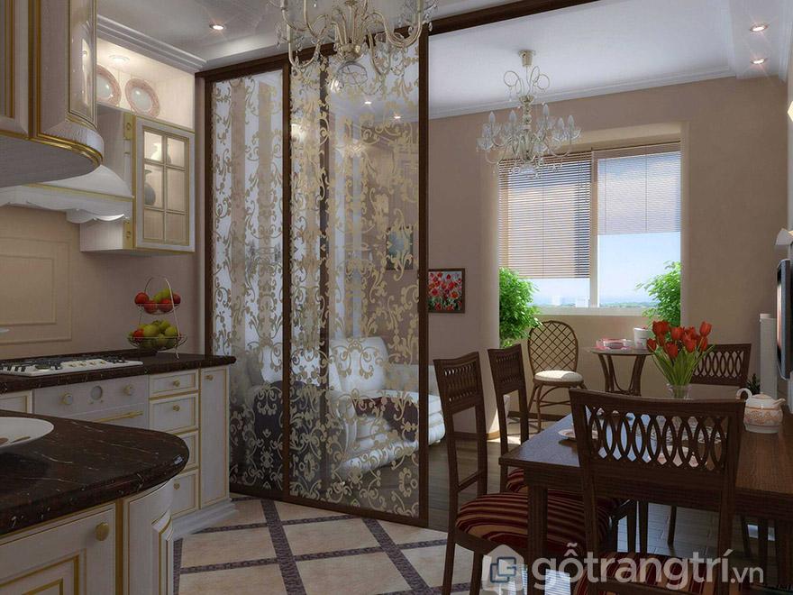 giá vách ngăn phòng khách và bếp