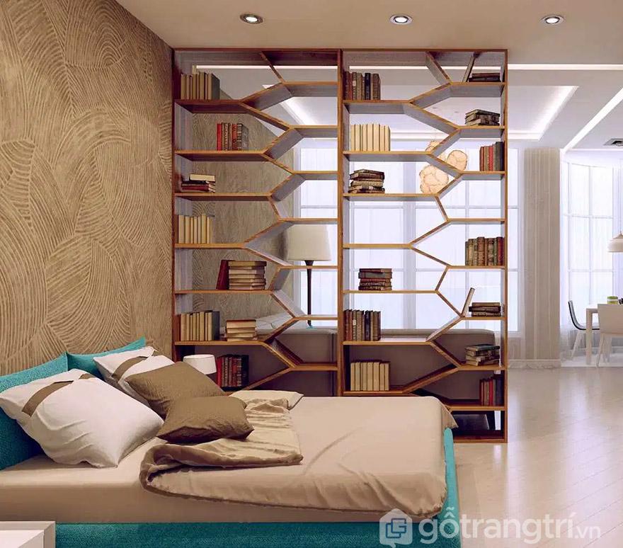 Vách ngăn phòng ngủ gỗ tự nhiên kiêm giá sách