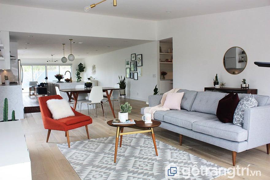 Thảm trải sàn phòng khách mùa hè