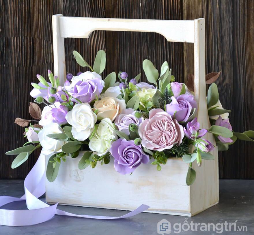 giỏ hoa giả trang trí