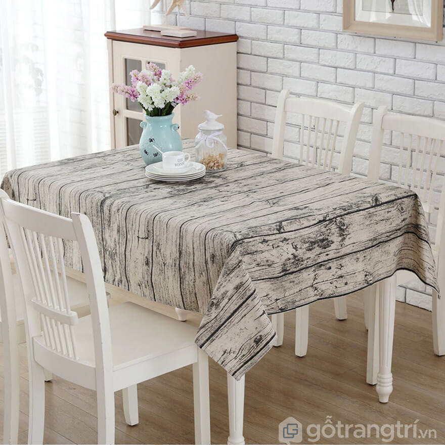 Khăn trải bàn giả vân gỗ làm từ chất liệu cotton