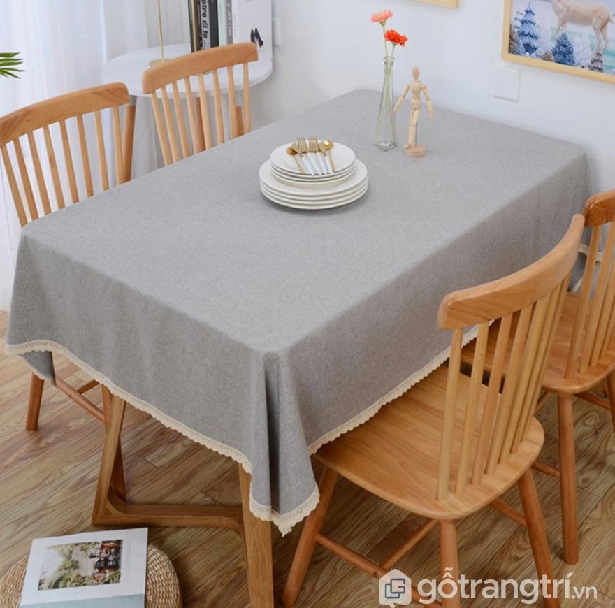 khăn trải bàn canvas màu xam