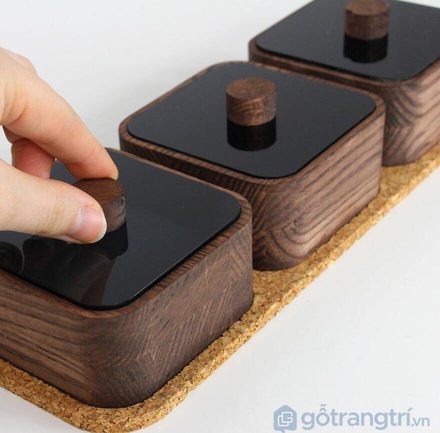 hũ đựng gia vị bằng gỗ