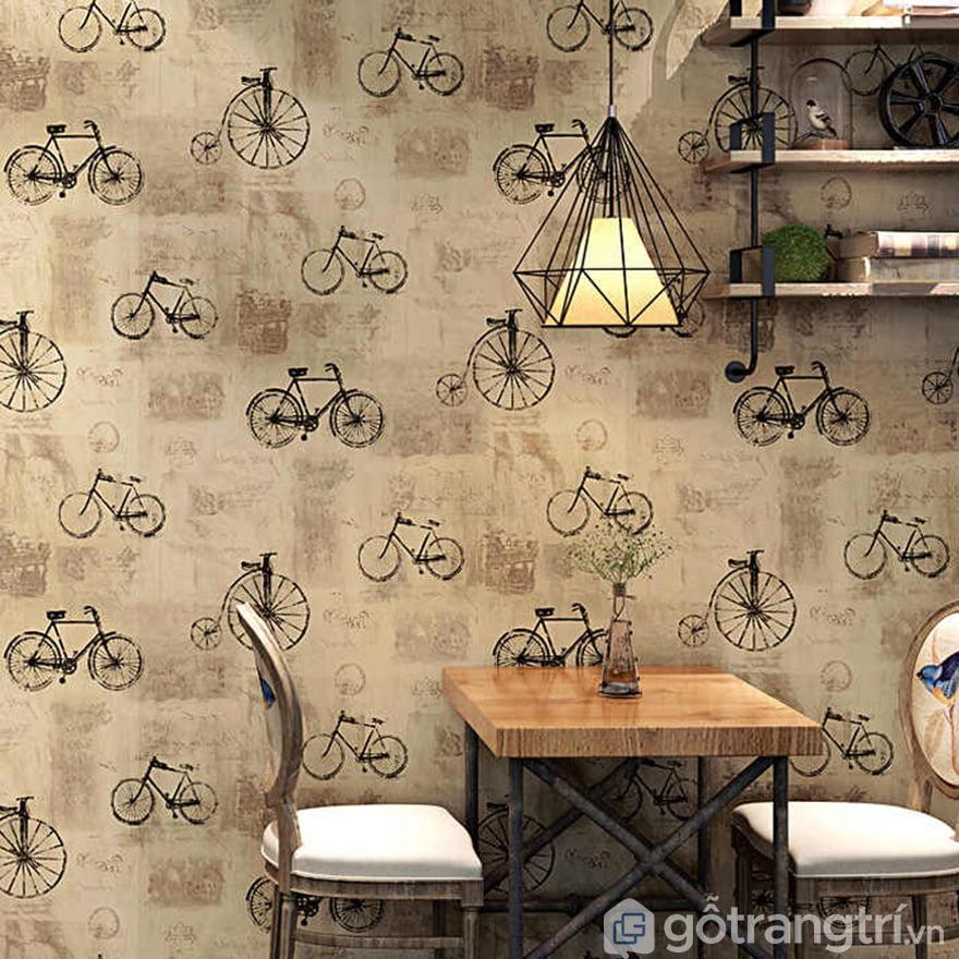 giấy dán tượng họa tiết xe đạp