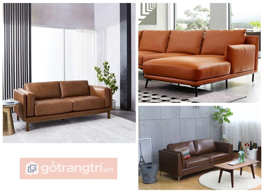 sofa màu nâu da bò