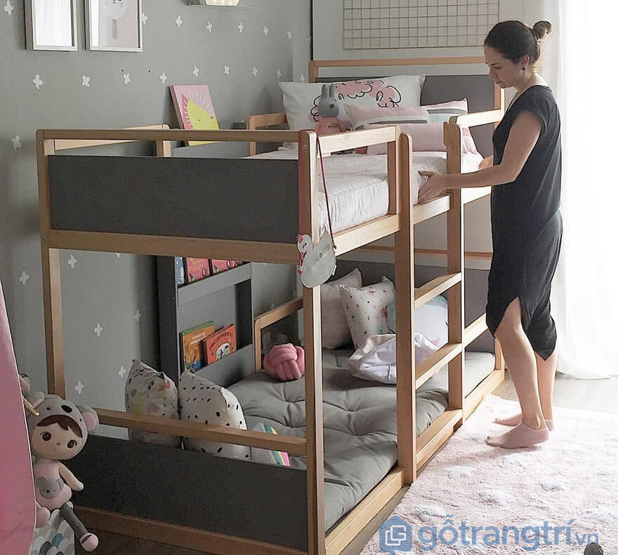 Giường 2 tầng thấp bằng gỗ