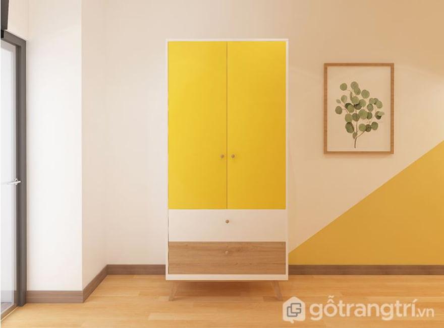 Tủ quần áo bằng gỗ cho bé thiết kế đơn giản