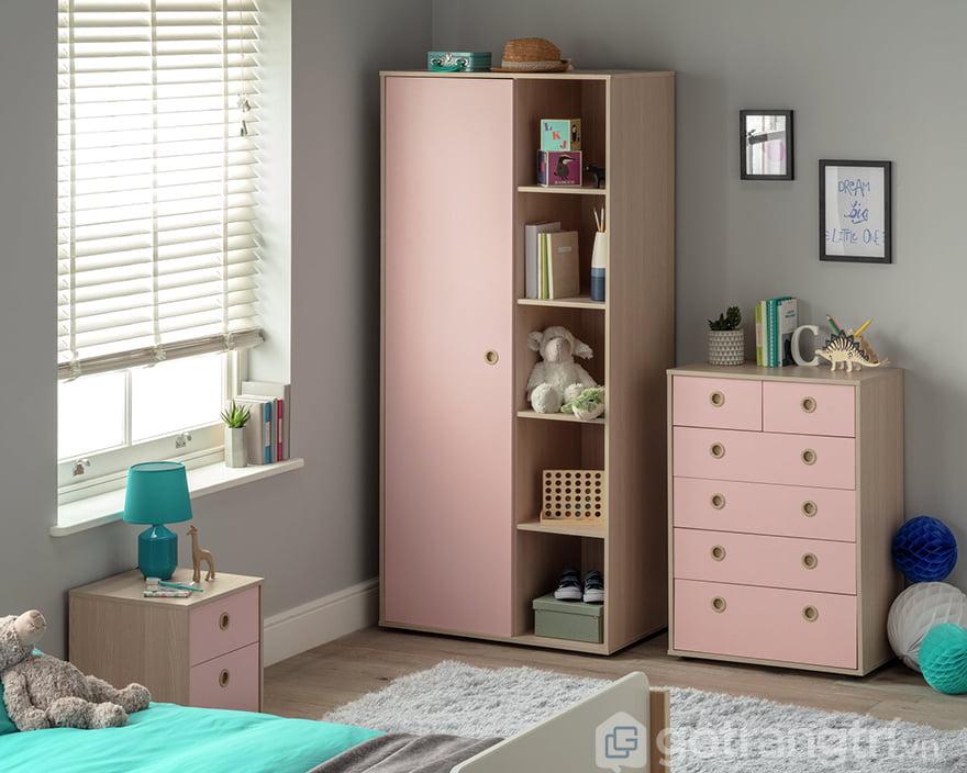 Tủ gỗ cho bé gái đẹp, chất lượng