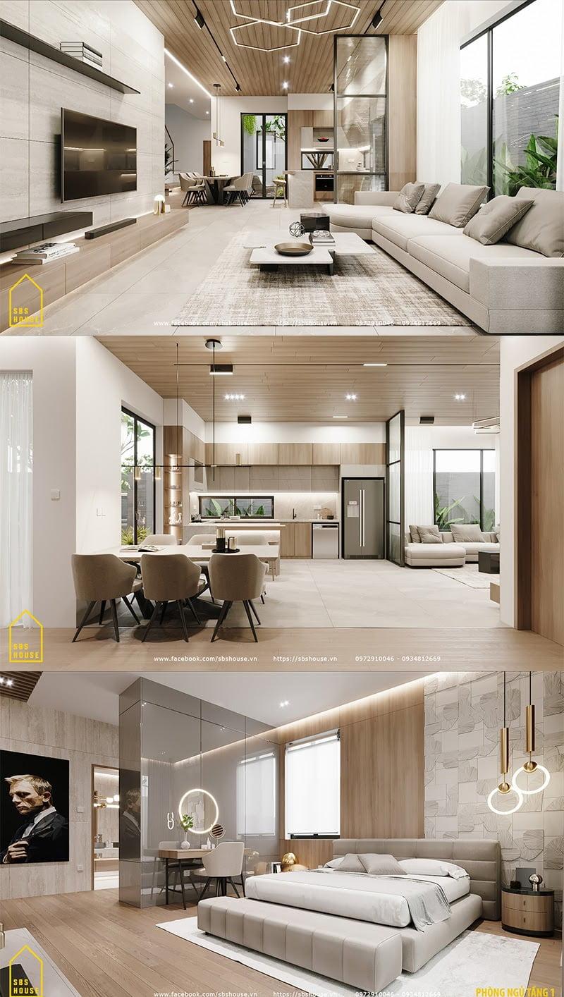 Nội thất đầy đủ các yếu tố của một ngôi nhà đẹp.