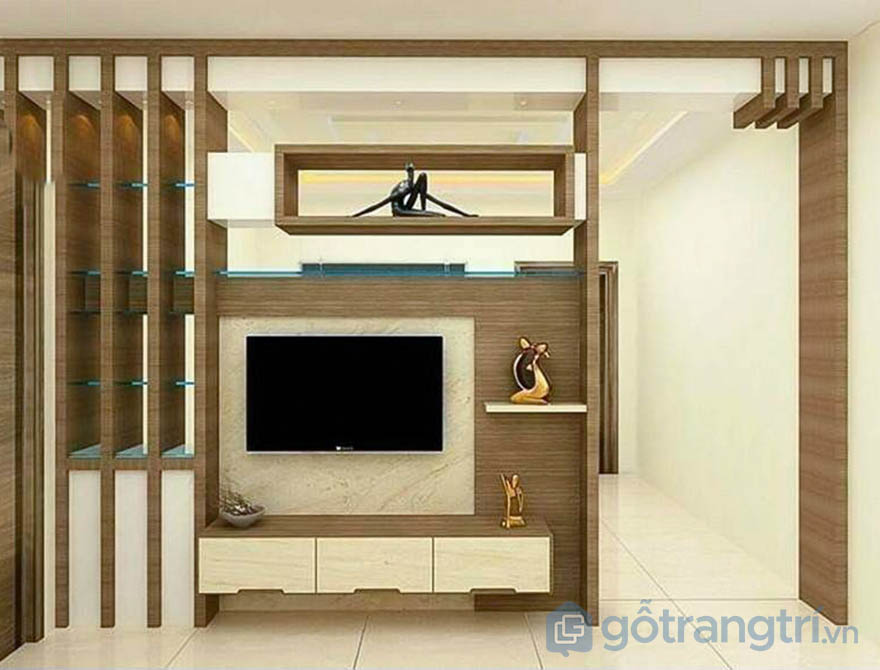 kệ tivi ngăn phòng khách và bếp