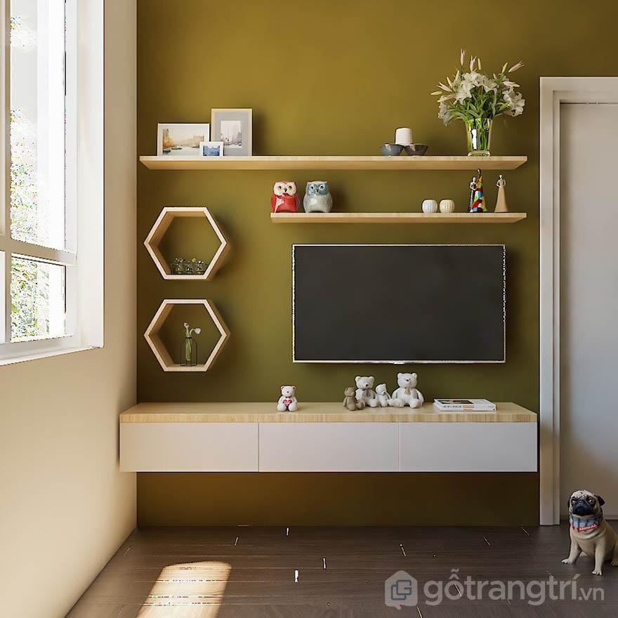 kệ trang trí tivi treo tường