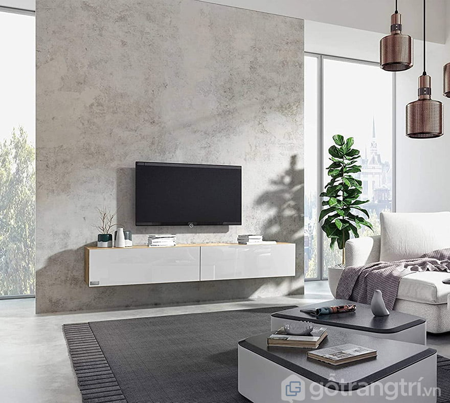 mẫu kệ tivi treo tường phòng khách