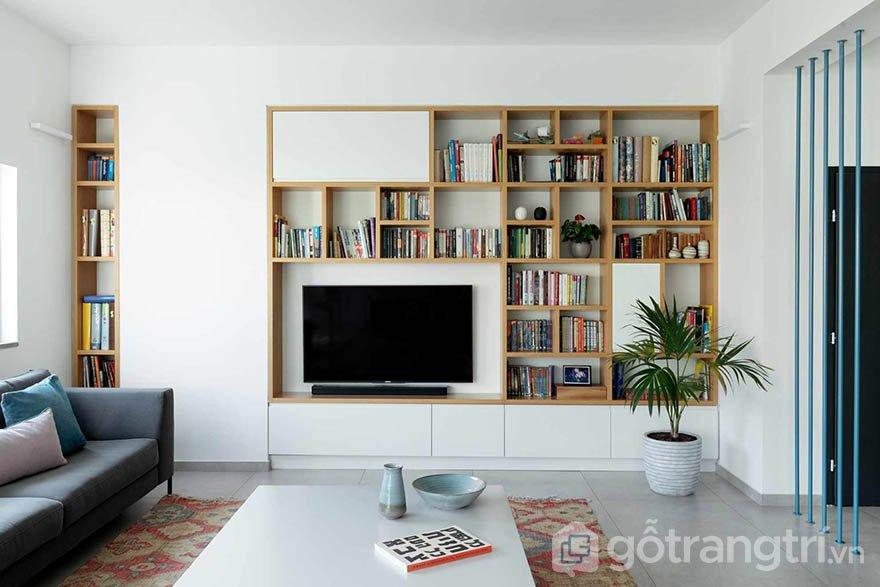 Mẫu tủ tường bằng gỗ phòng khách