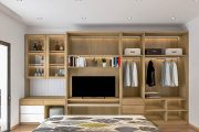 tủ quần áo âm tường kết hợp kệ tivi