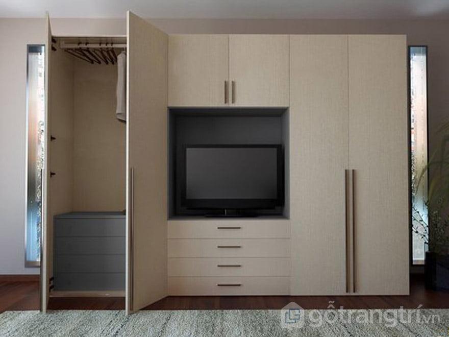 tủ quần áo kết hợp kệ tivi trong phòng khách