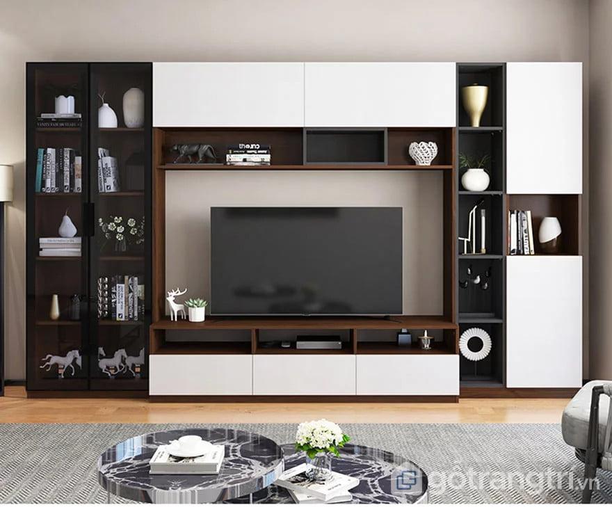 tủ quần áo gỗ kết hợp kệ tivi trong phòng ngủ