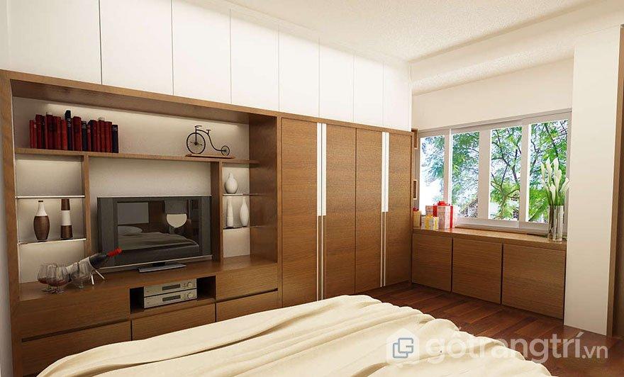 tủ quần áo kết hợp kệ tivi trong phòng ngủ