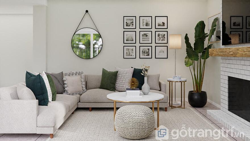 Cách trang trí phòng khách nhà vuông